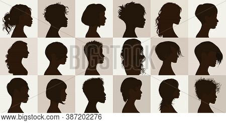 Vector Black Profile Silhouette Set With Female Haircut. Collection Face Anonymous Portrait And Isol