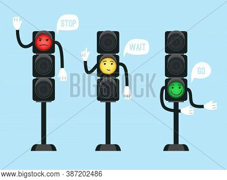 Cartoon Traffic Lights. Safety Signals For Kids On Intersection Of Streets, Urban Safety With Semaph