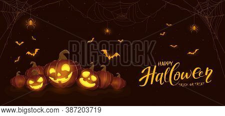 Banner With Halloween Pumpkins, Spiders And Bats On Dark Background. Holiday Card With Jack O' Lante