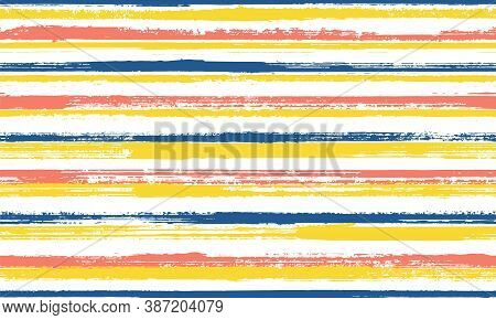 Ink Thin Parallel Lines Vector Seamless Pattern. Simple Summer Fashion Design. Scratchy Texture Para