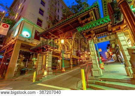 San Francisco, California, United States - August 16, 2019: Entrance To Chinatown, A Gate Of Chinese