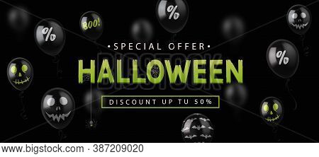 Sale Banner For Halloween Holiday With Black Balloons On Black Background. Vector Illustration Eps10