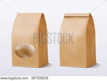 Realistic Paper Bag With A Round Transparent Window. Vector Illustration