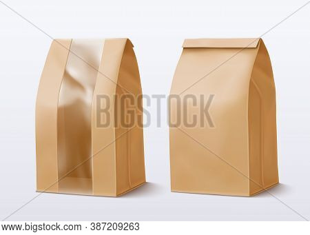 Realistic Paper Bag With Transparent Window. Vector Illustration