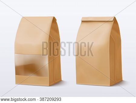 Realistic Paper Bag With A Square Transparent Window. Vector Illustration