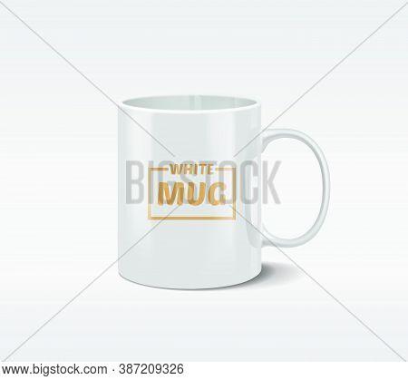 Realistic White Mug With The Bright Glare, Isolated On White Background. Vector Illustration