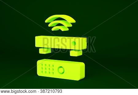 Yellow Wireless Multimedia And Tv Box Receiver And Player With Remote Controller Icon Isolated On Gr