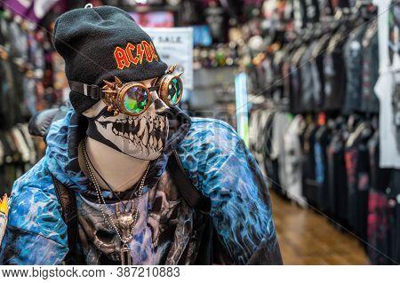 London - September 14, 2020: Elaborately Dressed Mannequin Wearing A Skeleton Face Mask At Entrance