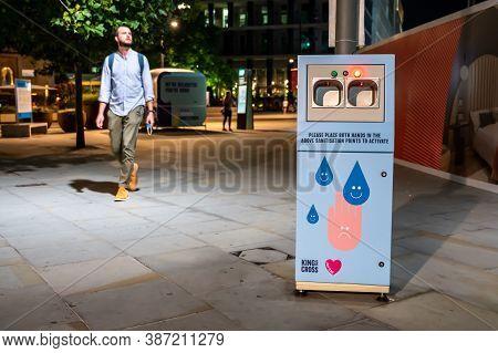London - September 14, 2020: Free Public Hand Sanitiser Station In The Street Near King's Cross Rail