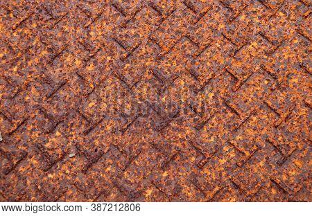 Rusty Metal Plate Floor Texture Background. Texture Plate Rust Background Of Steel Plate Floor In Br