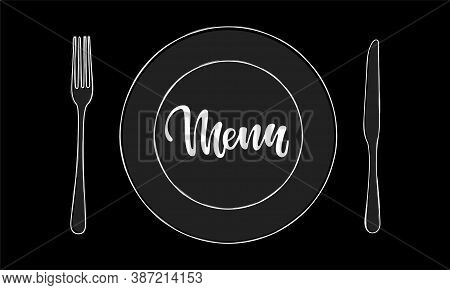Cutlery Knife, Fork, Plate Vector Doodle Icons With Lettering Word Menu. Design For Menu Restaurant