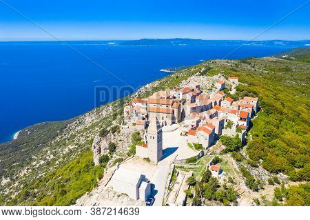 Aerial View Of Small Historical Town Of Lubenice On The High Cliff, Cres Island In Croatia, Adriatic