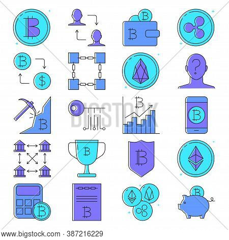 Bitcoin And Altcoins Icon Set In Colored Line Style