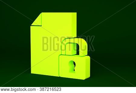 Yellow Document And Lock Icon Isolated On Green Background. File Format And Padlock. Security, Safet