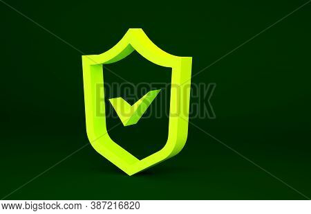 Yellow Shield With Check Mark Icon Isolated On Green Background. Security, Safety, Protection, Priva