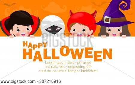 Happy Halloween Party Poster, Cute Little Group Kids Dressed In Halloween Fancy Dress To Go Trick Or
