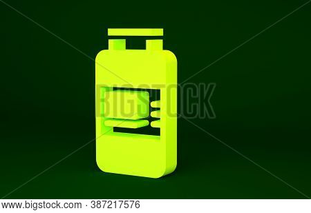 Yellow Collagen Serum And Vitamin Icon Isolated On Green Background. Facial Treatment Essence Skin C