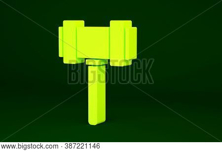 Yellow Judge Gavel Icon Isolated On Green Background. Gavel For Adjudication Of Sentences And Bills,