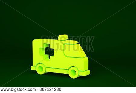 Yellow Ambulance And Emergency Car Icon Isolated On Green Background. Ambulance Vehicle Medical Evac