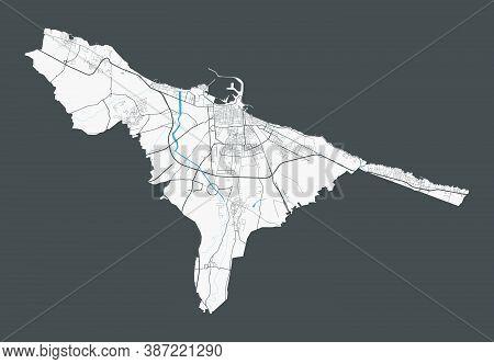 Bari Map. Detailed Map Of Bari City Administrative Area. Cityscape Panorama. Royalty Free Vector Ill