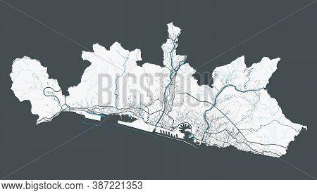 Genoa Map. Detailed Map Of Genoa City Administrative Area. Cityscape Panorama. Royalty Free Vector I