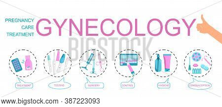 Gynecology Word Vector Infographic Illustration With Icons For Obstetrics,female Treatment,baby Plan