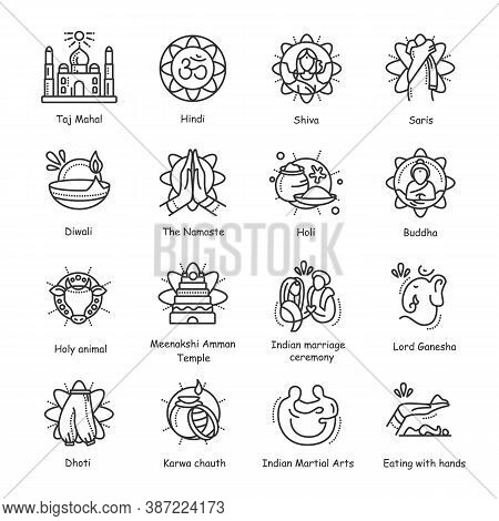 Indian Culture Line Icons Set. National Traditions And Customs, Festivals, Religious Symbols And Ido