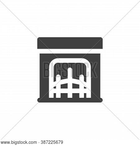 Fireplace Vector Icon. Filled Flat Sign For Mobile Concept And Web Design. Fireplace Glyph Icon. Sym