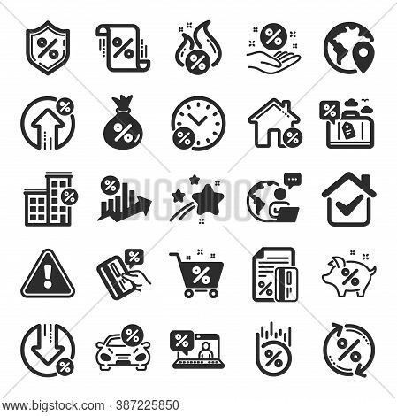 Loan Icons. Set Of Investment, Interest Rate And Percentage Diagram Icons. Car Leasing, Analytics Pl