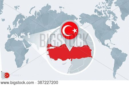 Pacific Centered World Map With Magnified Turkey. Flag And Map Of Turkey On Asia In Center World Map