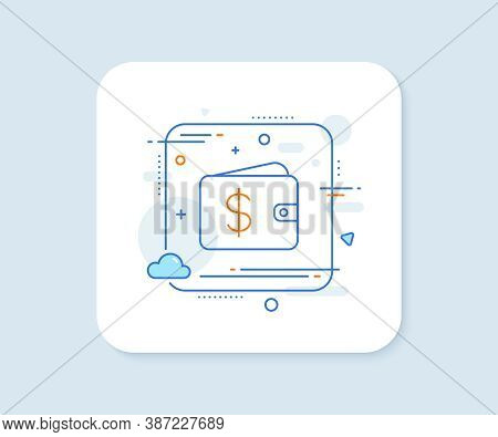 Shopping Wallet Line Icon. Abstract Square Vector Button. Dollar Sign. Usd Money Pocket Symbol. Doll