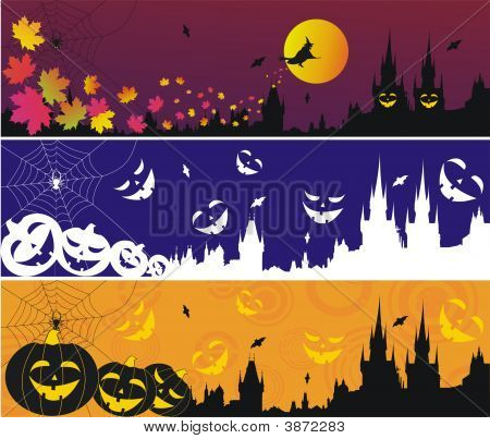 Three Halloween Banners With Gothic Town