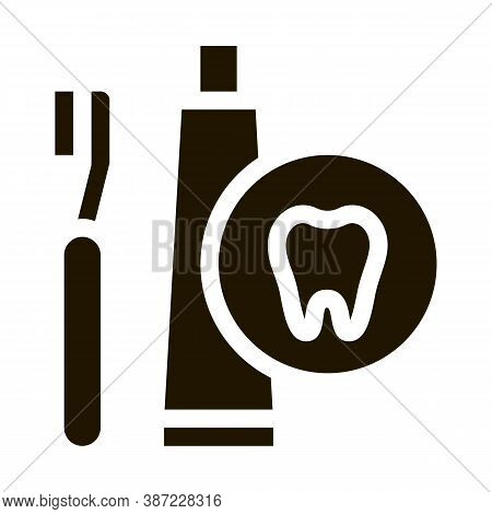 Toothbrush And Paste Glyph Icon Vector. Toothbrush And Paste Sign. Isolated Symbol Illustration