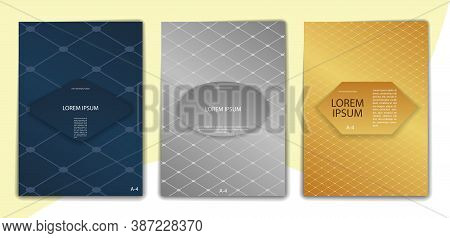 Set Of Color-editable Abstract Backgrounds For Book Covers, Brochures And Booklets. Format A-4. Mode