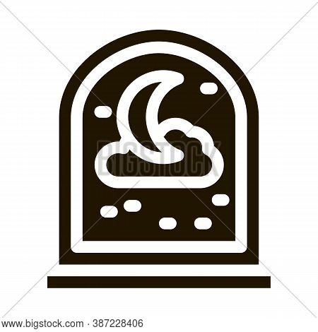 Moon, Stars And Cloud Glyph Icon Vector. Moon, Stars And Cloud Sign. Isolated Symbol Illustration