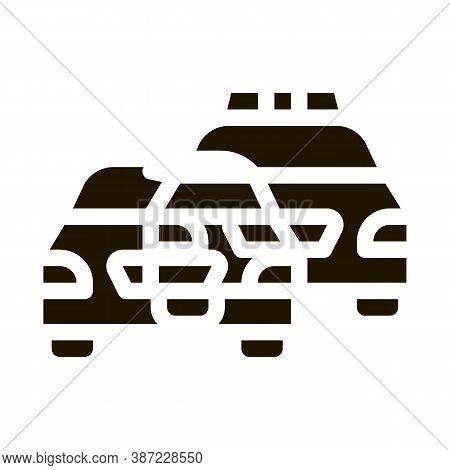 Police And Criminal Car Glyph Icon Vector. Police And Criminal Car Sign. Isolated Symbol Illustratio