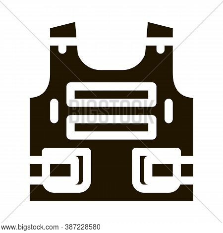 Police Body Safe Armor Glyph Icon Vector. Police Body Safe Armor Sign. Isolated Symbol Illustration