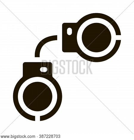 Police Arrest Irons Glyph Icon Vector. Police Arrest Irons Sign. Isolated Symbol Illustration