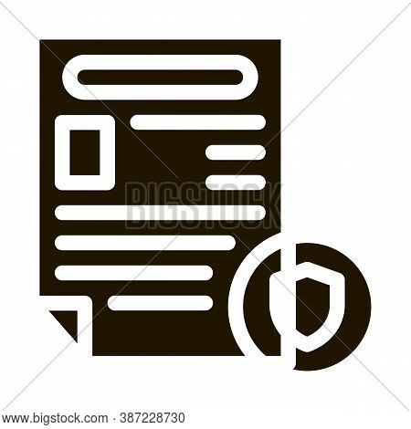 Police Report Worksheet Glyph Icon Vector. Police Report Worksheet Sign. Isolated Symbol Illustratio