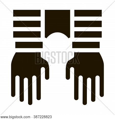 Criminal Hands In Irons Glyph Icon Vector. Criminal Hands In Irons Sign. Isolated Symbol Illustratio