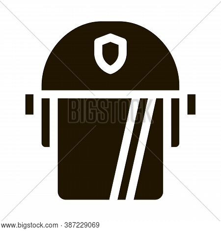 Policeman Swap Helmet Glyph Icon Vector. Policeman Swap Helmet Sign. Isolated Symbol Illustration