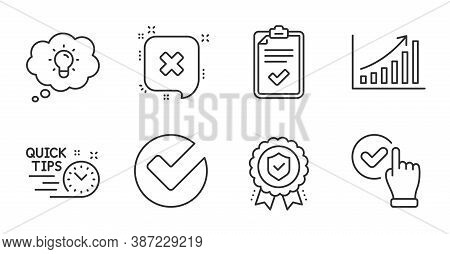 Graph Chart, Insurance Medal And Checkbox Line Icons Set. Energy, Checklist And Verify Signs. Reject
