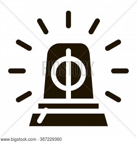 Police Squad Car Alarm Glyph Icon Vector. Police Squad Car Alarm Sign. Isolated Symbol Illustration