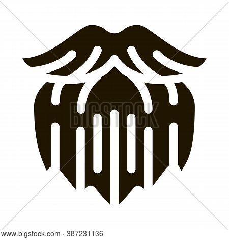 Human Brutal Bushy Beard Glyph Icon Vector. Human Brutal Bushy Beard Sign. Isolated Symbol Illustrat