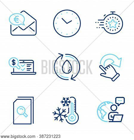 Technology Icons Set. Included Icon As Online Accounting, Refill Water, Time Signs. Rotation Gesture