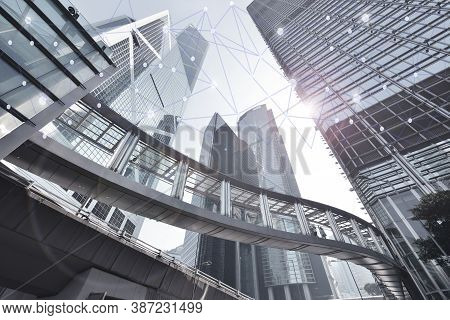 Smart City And Wireless Communication Network On Skyscrapers In Central Hong Kong Background, Financ