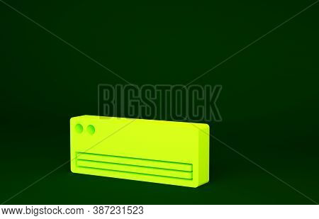 Yellow Air Conditioner Icon Isolated On Green Background. Split System Air Conditioning. Cool And Co