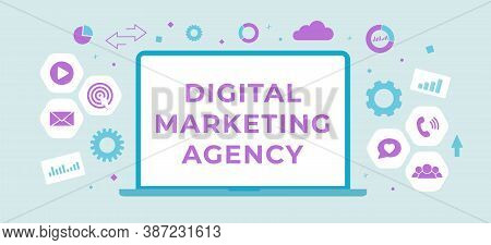 Digital Marketing Agency Flat Vector Banner Business Concept. Digital Media Advertising Campaign Ill