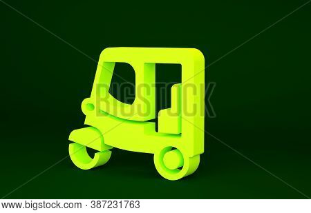 Yellow Taxi Tuk Tuk Icon Isolated On Green Background. Indian Auto Rickshaw Concept. Delhi Auto. Min