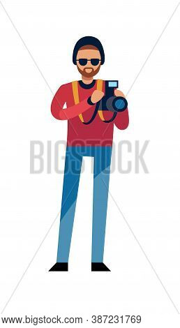 Photographer At Work. Modern Man Holding Photo Camera, Creative Profession, Occupation Or Hobby, Mal